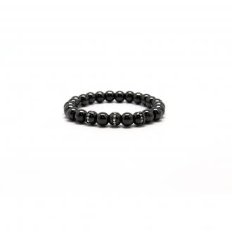 Bracelet Carador perle céramique noire et oxydes de zirconium 7 mm