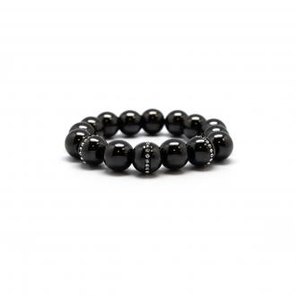 Bracelet Carador perle céramique noire et oxydes de zirconium 10 mm