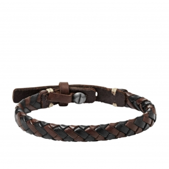 Bracelet Fossil en laiton et cuir