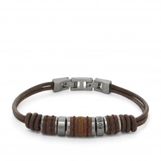 Bracelet Fossil en acier et cuir