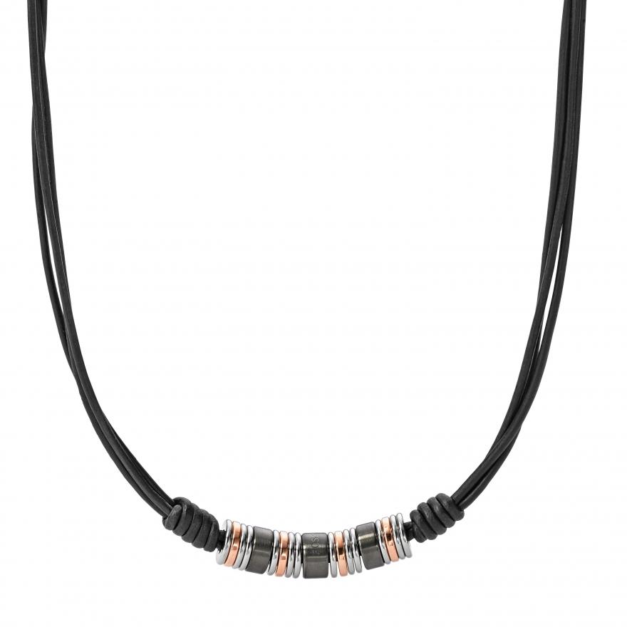collier fossil en acier jf01656998 pour homme. Black Bedroom Furniture Sets. Home Design Ideas