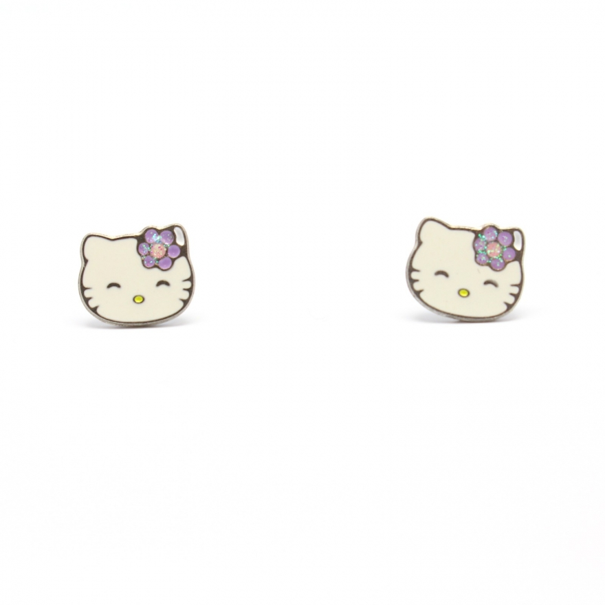 boucles d oreilles hello kitty pour petite fille bijoux la mode. Black Bedroom Furniture Sets. Home Design Ideas