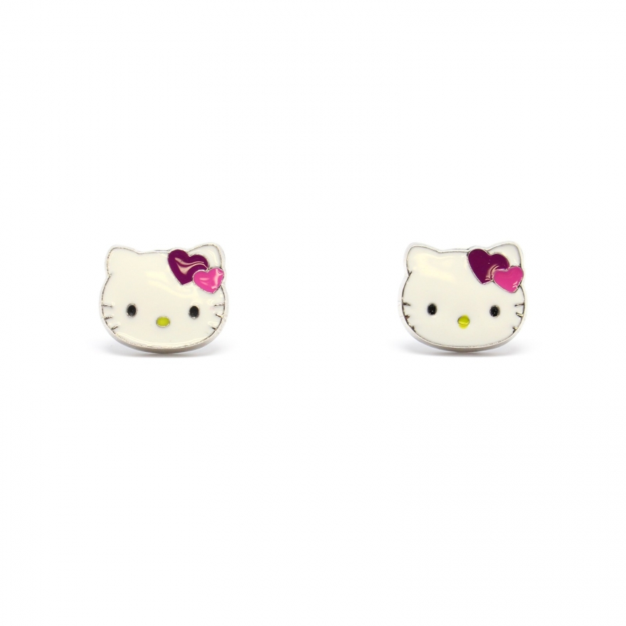 Boucle d'oreille hello kitty en or blanc