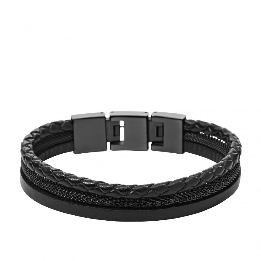 Bracelet Fossil En Acier Et Cuir Jf01680001 Pour Homme