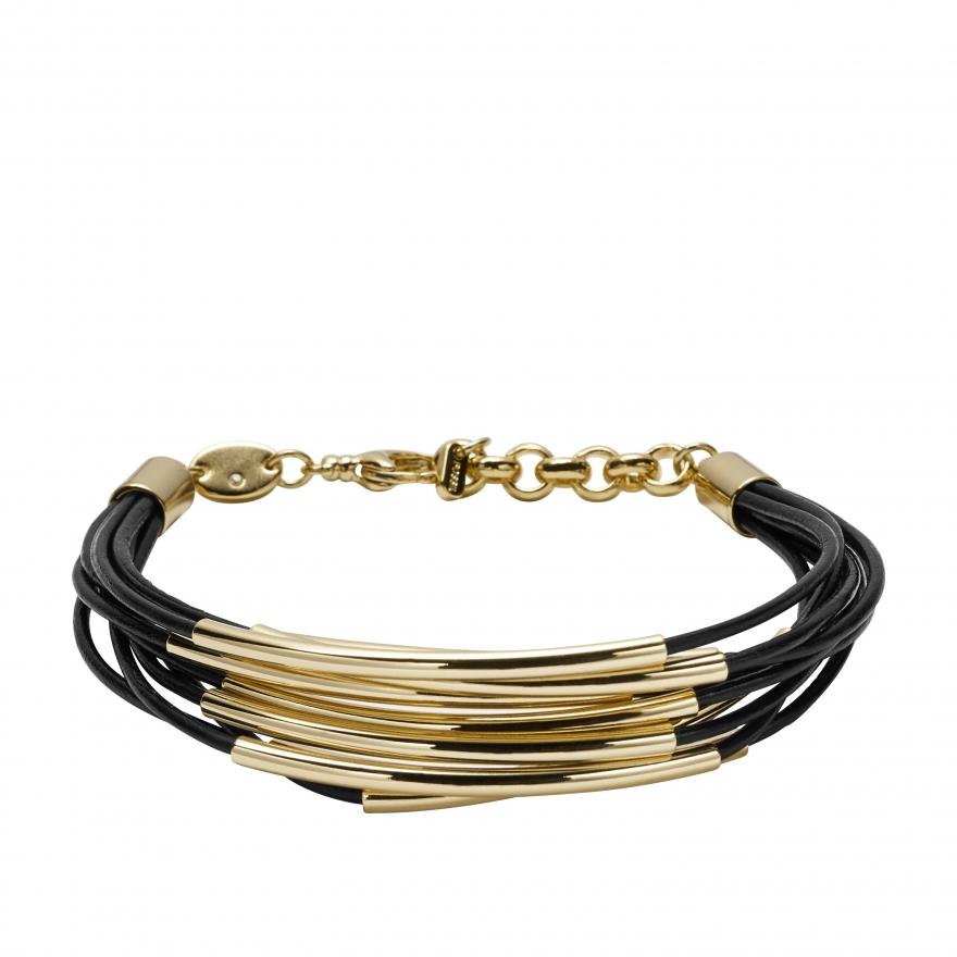 bracelet fossil en cuir multi liens noir ja6695710 pour femme. Black Bedroom Furniture Sets. Home Design Ideas