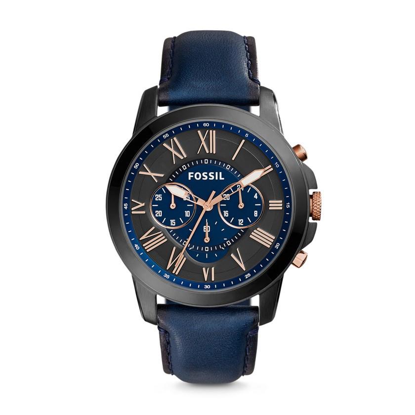 Montre Fossil Grant en cuir bleu FS5061