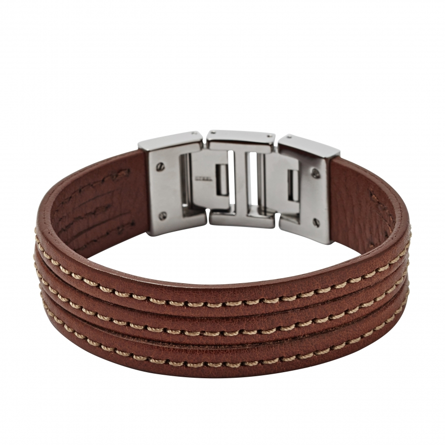 bracelet fossil cuir marron jf01862040 pour homme. Black Bedroom Furniture Sets. Home Design Ideas