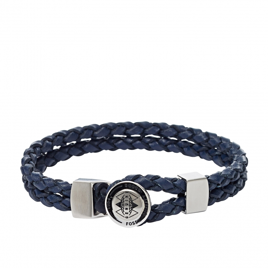 bracelet fossil en cuir tress bleu jf01842040 pour homme. Black Bedroom Furniture Sets. Home Design Ideas