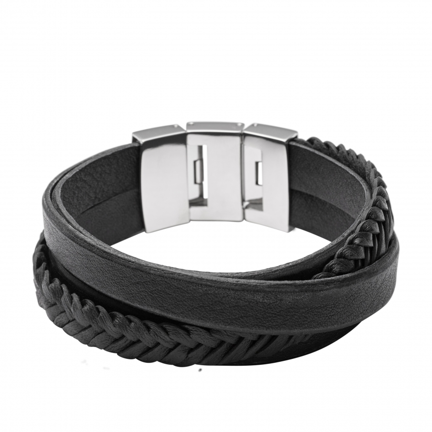 bracelet fossil homme vintage casual noir jf02079040 pour homme. Black Bedroom Furniture Sets. Home Design Ideas