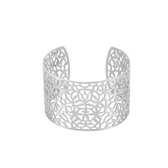 Jonc acier Amporelle motifs dentelle 4,5 cm