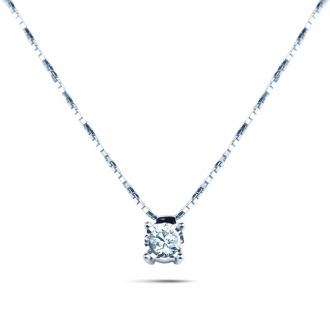 Collier Diamant et or blanc 375/000e