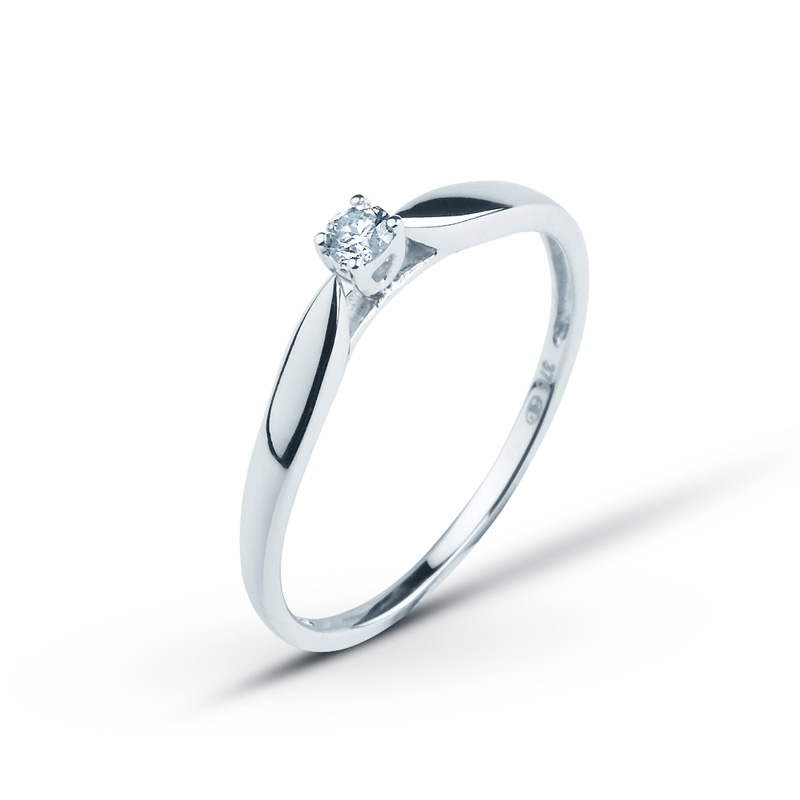 bague solitaire or blanc original
