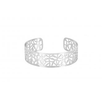 Jonc acier Amporelle motifs dentelle 2 cm
