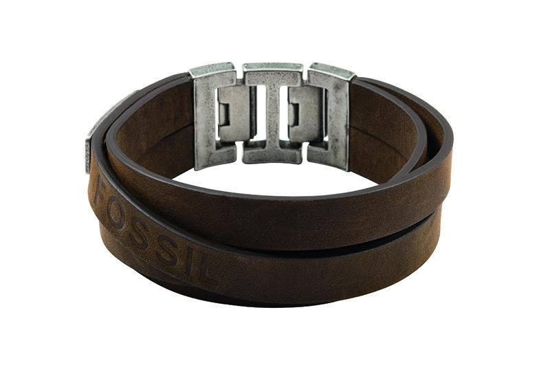Bracelet Fossil en cuir et métal
