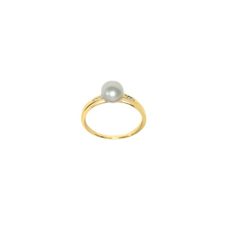 bague perle or