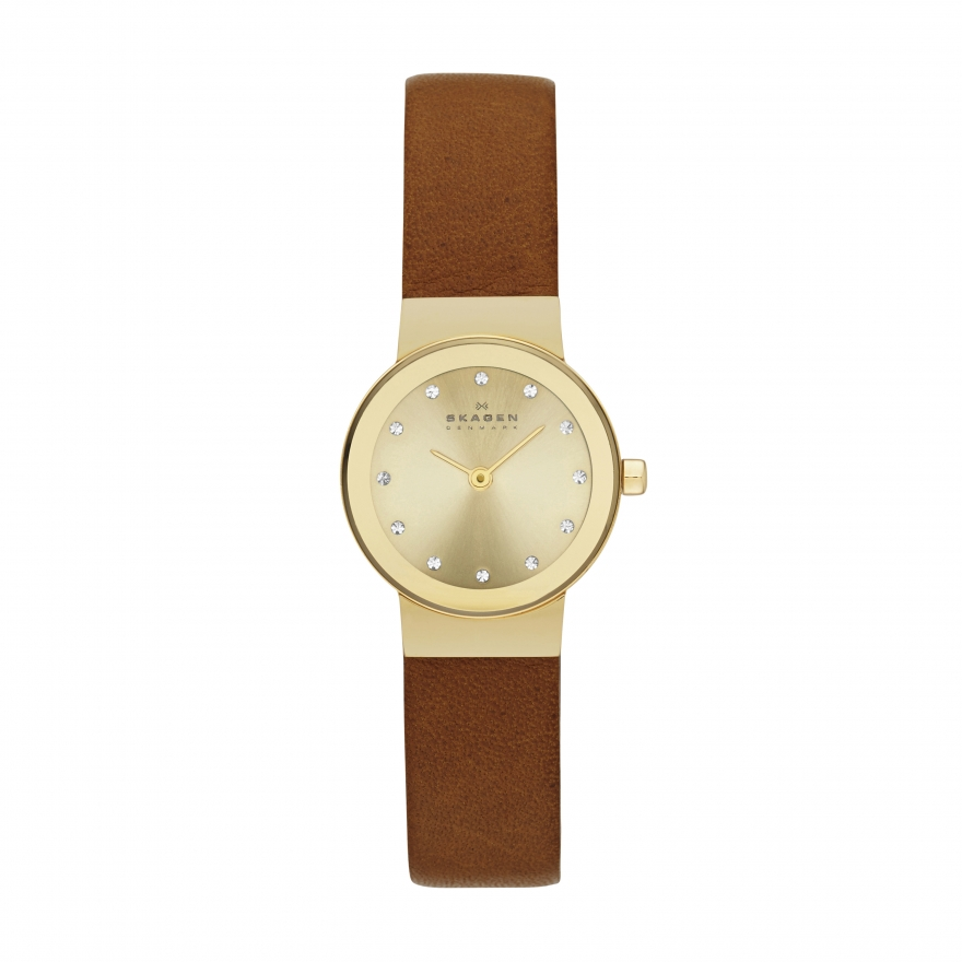 montre skagen freja bracelet cuir marron skw2175 pour femme. Black Bedroom Furniture Sets. Home Design Ideas