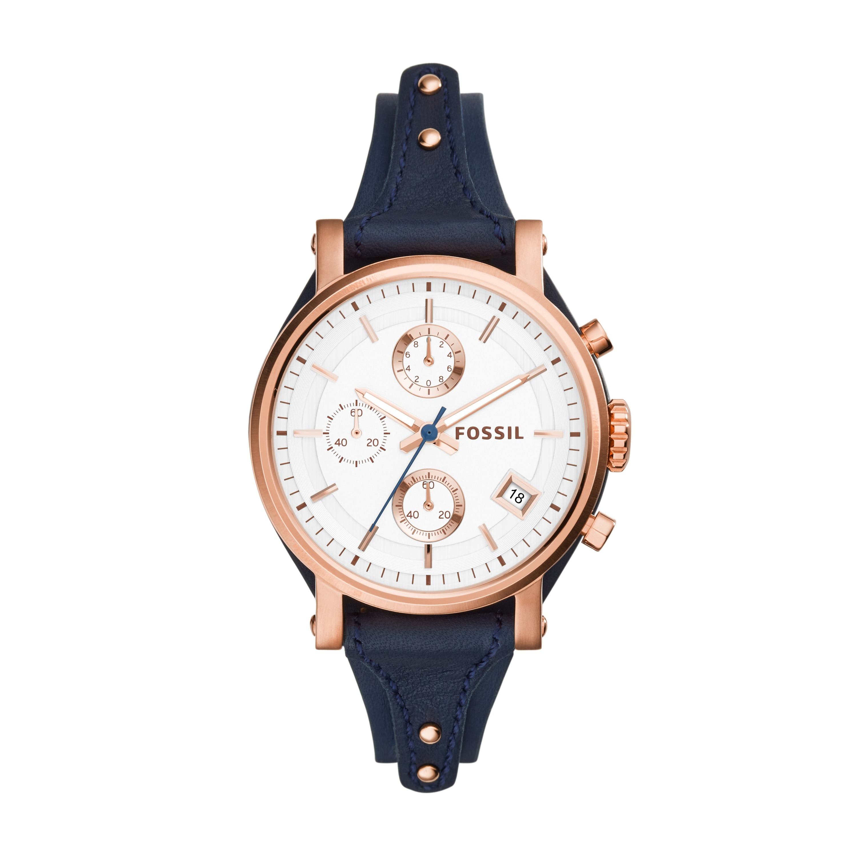 MONTRE FOSSIL ORIGINAL BOY FRIEND BRACELET CUIR BLEU ES3838