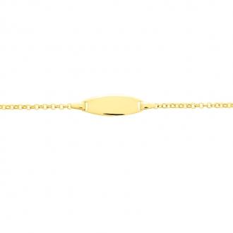 Carador - Gourmette bébé or jaune 375/000 maille forçat plaque ovale