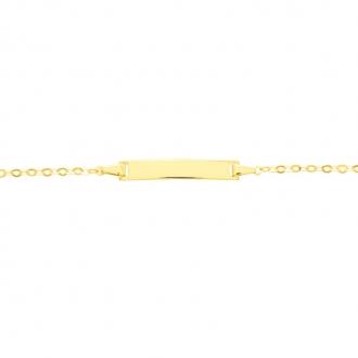 Carador - Gourmette bébé or jaune 375/000 maille miroir plaque rectangulaire