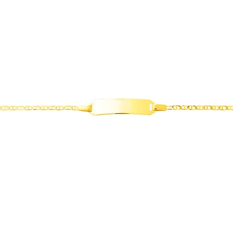 Carador - Gourmette bébé or jaune 375/000 maille baton plaque octogonale