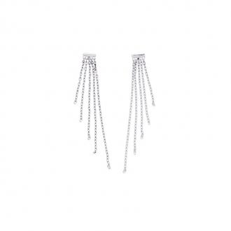 Carador - Boucles d'oreilles pendantes or blanc 375/000