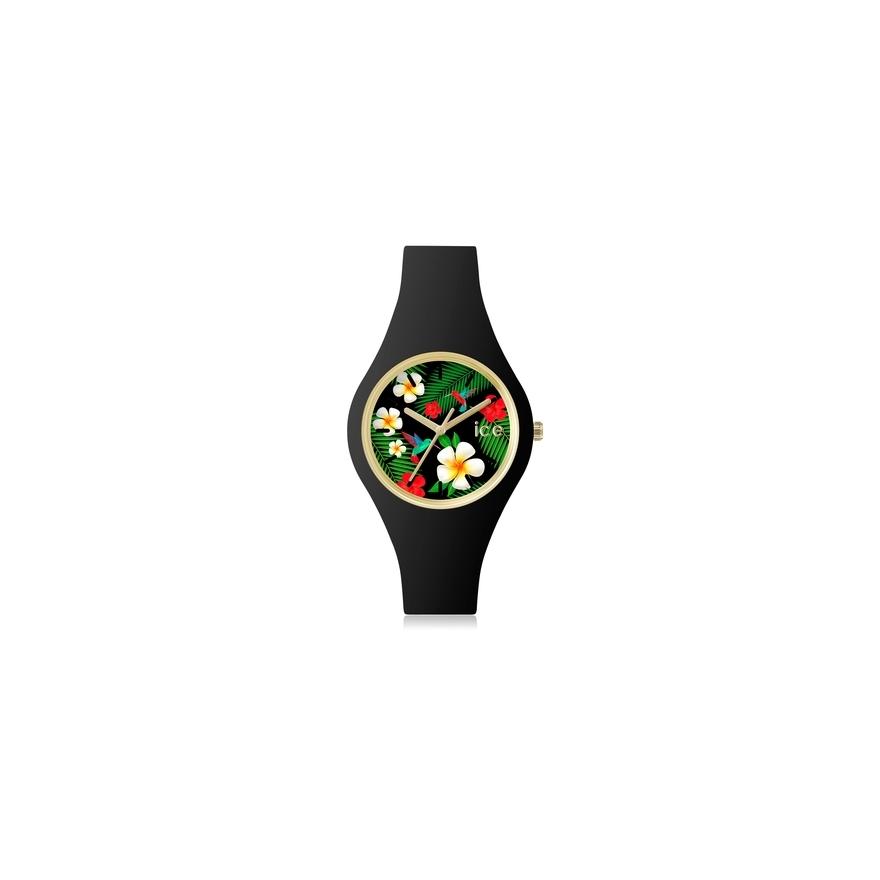 e5f7855fe368c2 Montre ICE-WATCH ICE.FL.PAR.S.S. bracelet silicone noir pour FEMME
